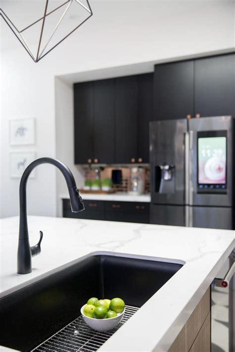 black sink white countertop black kitchen sink kitchen