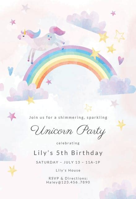 unicorn party birthday invitation template