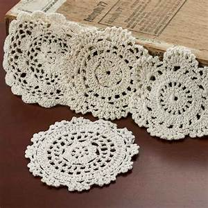 Ecru Round Crocheted Doilies - Crochet and Lace Doilies