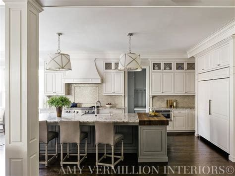 kitchen island with two countertops transitional kitchen