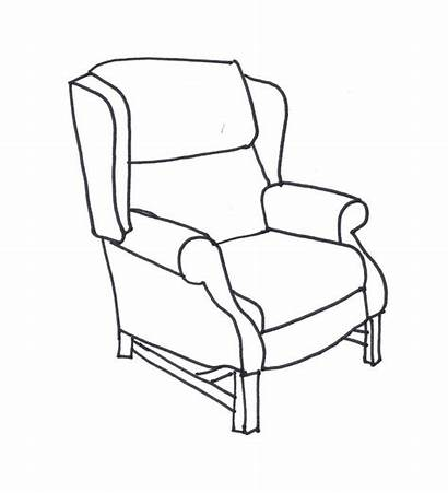 Line Chair Drawing Wing Chairs Coloring Drawings