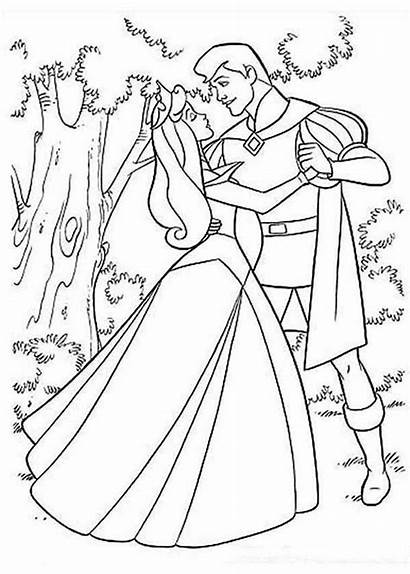 Coloring Princess Aurora Pages Sleeping Prince Beauty