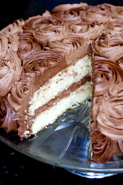 white butter cake  chocolate buttercream frosting