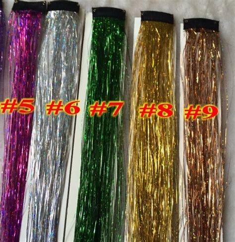 Wholesale 16inch Hair Bling Hair Tinsel Rainbow Clip In