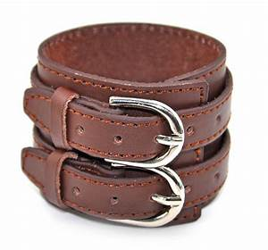 men's genuine leather bracelet wristband Double buckle ...