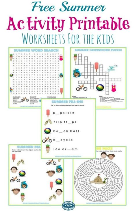 5 Free Summer Activity Printable Worksheets More Than A