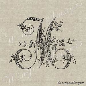 antique french monogram letter m instant download digital With iron on transfer letters for embroidery