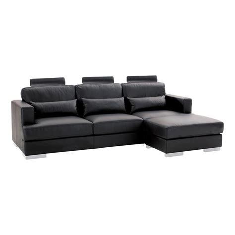 canape en cuir noir canapé d 39 angle 5 places en cuir noir orlando maisons du