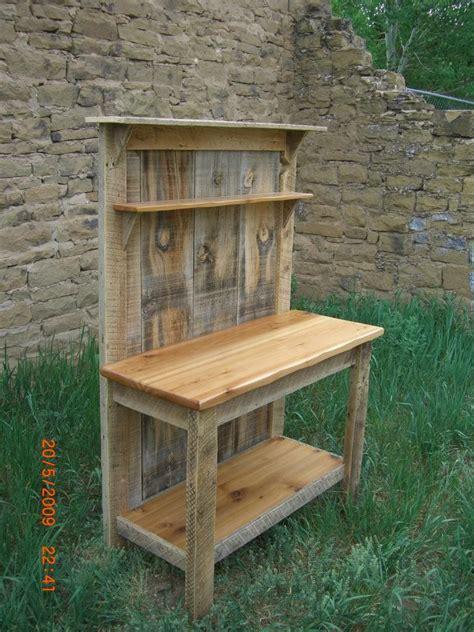 barnwood cedar potting bench  woodworking shed