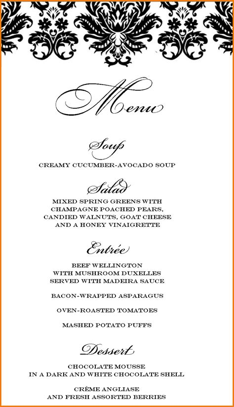dinner party menu template authorization letter