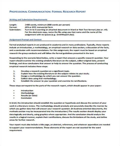 research report formats  sample  format