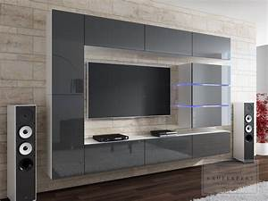 Wohnwand Grau Holz : kaufexpert wohnwand shine grau hochglanz wei 284 cm mediawand medienwand design modern led ~ Indierocktalk.com Haus und Dekorationen