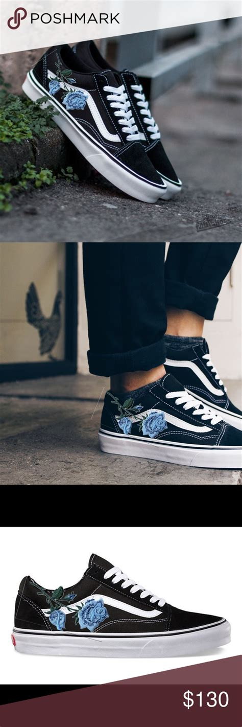 Vans women's old skool vn0a38g11ul rose dawn/true white shoe size 8.5top rated seller. Custom Vans Old Skool Embroidery Blue Rose customize your ...