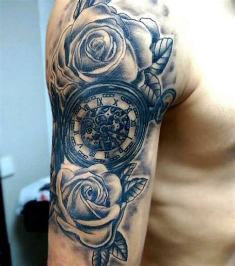 wonderful grey ink clock tattoos