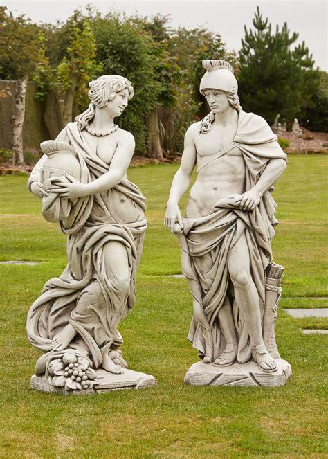 Roman Gladiator & Goddess Stone Sculpture - Large Garden ...