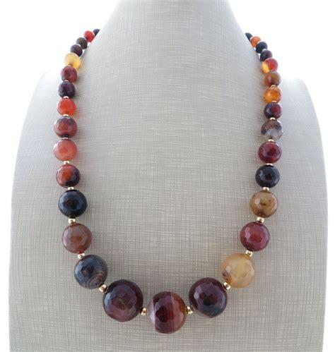 brown agate necklace uk gemstone choker coffee stone