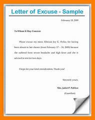 school excuse letter