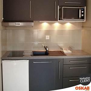 cuisine grise porte effet soft touch ginko gris mat With plan de travail pour petite cuisine