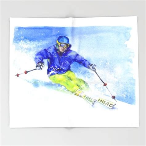 watercolor skier skiing illustration throw blanket ski