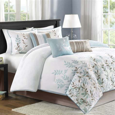 grey white and blue bedroom bedroom modern white bedding designs feat blue and grey leaf accents bed sets also white table