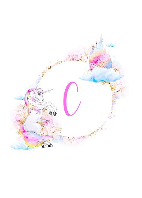 printable magical unicorn monogram collection  cottage market