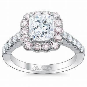 Cushion engagement ring with pink diamond halo for Pink diamond wedding rings