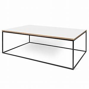 gleam white black long modern coffee table by temahome With long white coffee table
