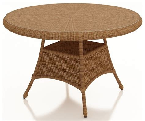 rattan traditional 42 quot dining table straw