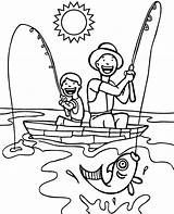 Coloring Boat Fishing Boys Topcoloringpages sketch template
