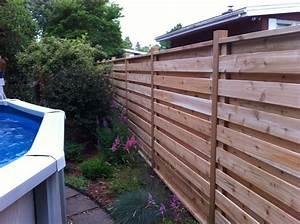 les lignes horizontales de cette cloture de bois au design With exceptional amenagement terrasse et jardin 9 pose des palissades dans le beton palissade