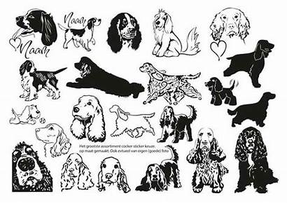 Spaniel Cocker Springer Silhouette English American Tattoos