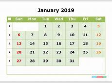 January 2019 Printable Calendar Month by Month Calendar