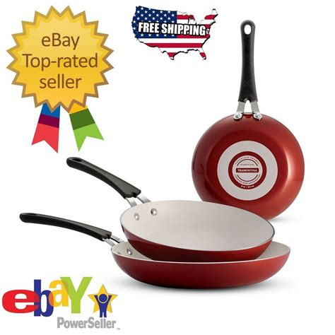 cayenne red tramontina  pack ceramic reinforced nonstick fry pans cookware ebay
