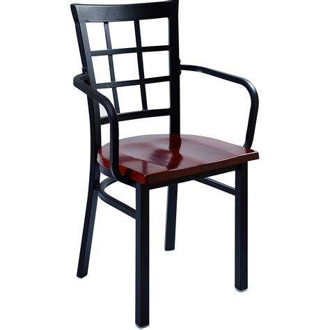 window back metal restaurant chair with arms