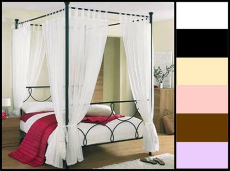 tab top voile 4 four poster bed curtain set 8 panels 58 - Four Poster Drapes