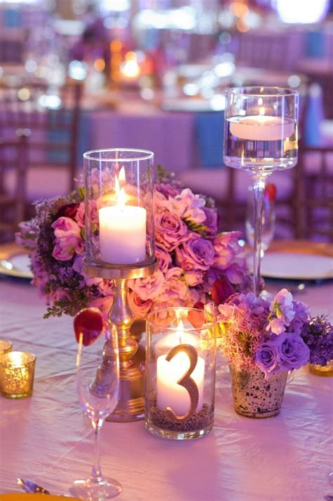 Chic Gold Aqua And Lavender Wedding Centerpieces