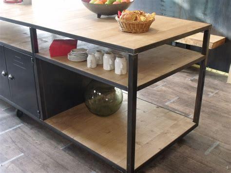 cuisine bois metal ilot de cuisine bois métal sur mesure micheli design