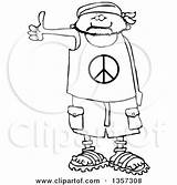 Bandana Cartoon Sandals Wearing Peace Hitchhiker Shorts Male Shirt Clipart Coloring Royalty Posters Prints Illustration Illustrations Vector Clipartof sketch template
