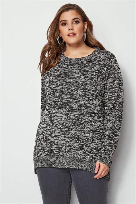 Schwarzer & Grauer Pullover Aus Melange Strick, Große