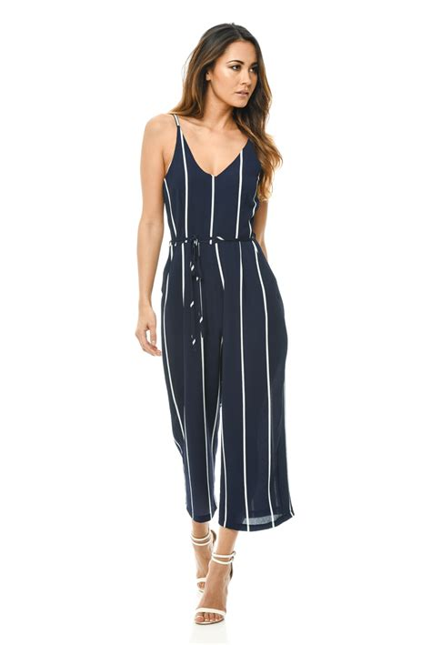 womens casual jumpsuits ax womens printed culotte jumpsuit navy waist band