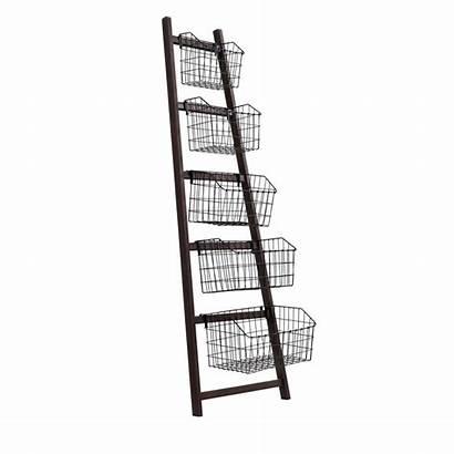 Baskets Ladder Metalen Metal Manden Rek Houten