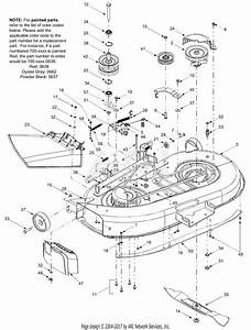 Troy Bilt 13at609g766 Super Bronco  2004  Parts Diagram For Deck Assembly