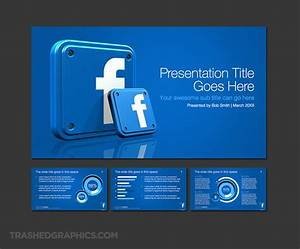 widescreen powerpoint template with 3d facebook app icons With facebook powerpoint presentation template