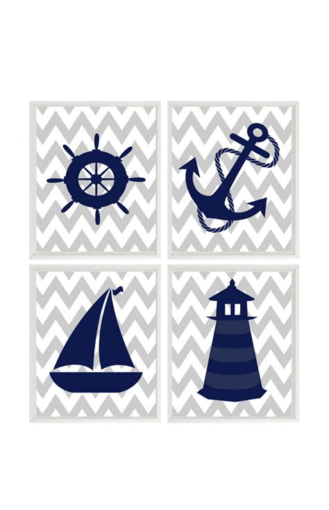 Sailboat Wheel Wall Decor by Nautical Nursery Print Set Navy Blue Gray Chevron Decor