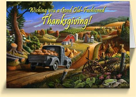 appalachian country farm themed thanksgiving greeting cards for sale
