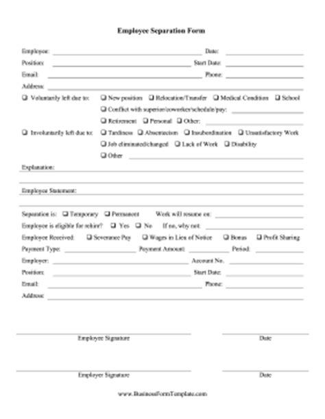 employee separation agreement template employee separation form template