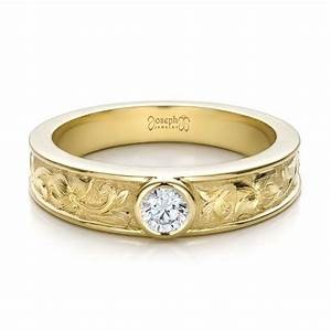 custom hand engraved diamond solitaire wedding ring 100288 With wedding rings engraved