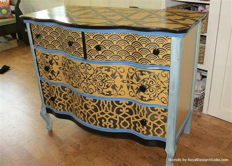 funky kitchen cabinets stencil pattern ideas for dressers and drawers royal 1122