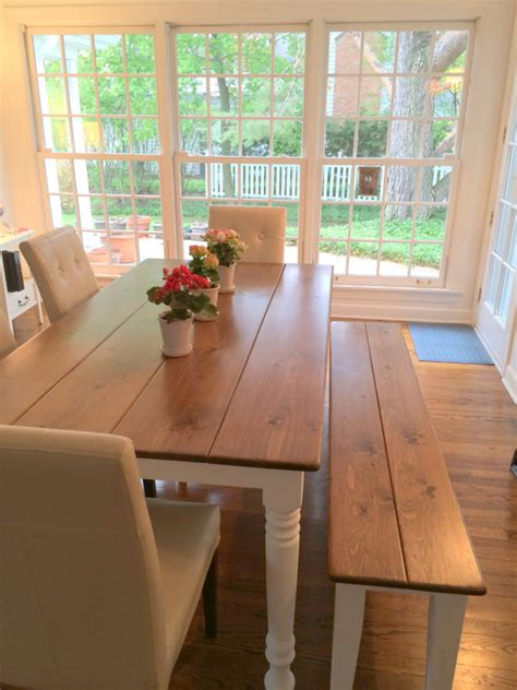 bench style table and chairs dining room top modern country farm table dining room