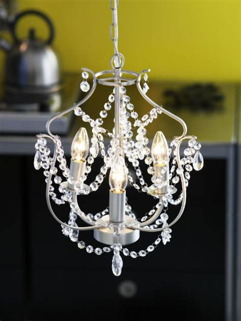 kristaller chandelier 3 armed silver colour glass
